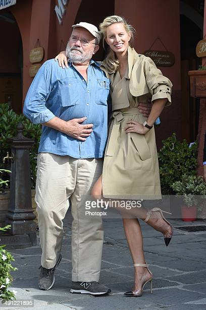 Peter Lindbergh and Karolina Kurkova are seen while filming for the International Watch Company on May 16 2014 in Portofino Italy