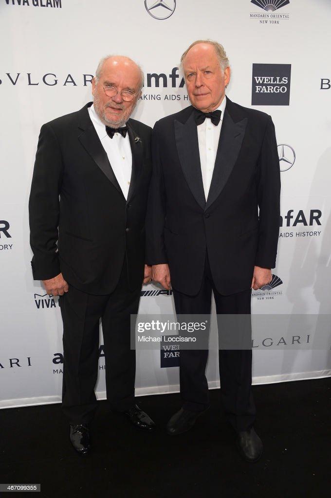 Peter Lindbergh and Nicola Bulgari attend the 2014 amfAR New York Gala at Cipriani Wall Street on February 5 2014 in New York City