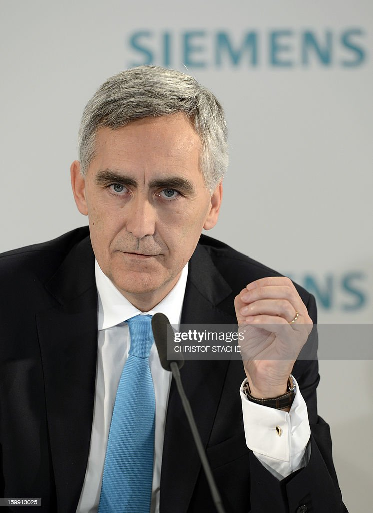Peter Loescher, CEO of German industrial giant Siemens, speaks during a press conference ahead of the company's shareholders meeting on January 23 , 2013 in Munich, southern Germany. Siemens said on January 23, 2013 that earnings and orders fell in the first quarter, but it was hoping a shake-up of its businesses would nevertheless enable it to meet its full-year targets.