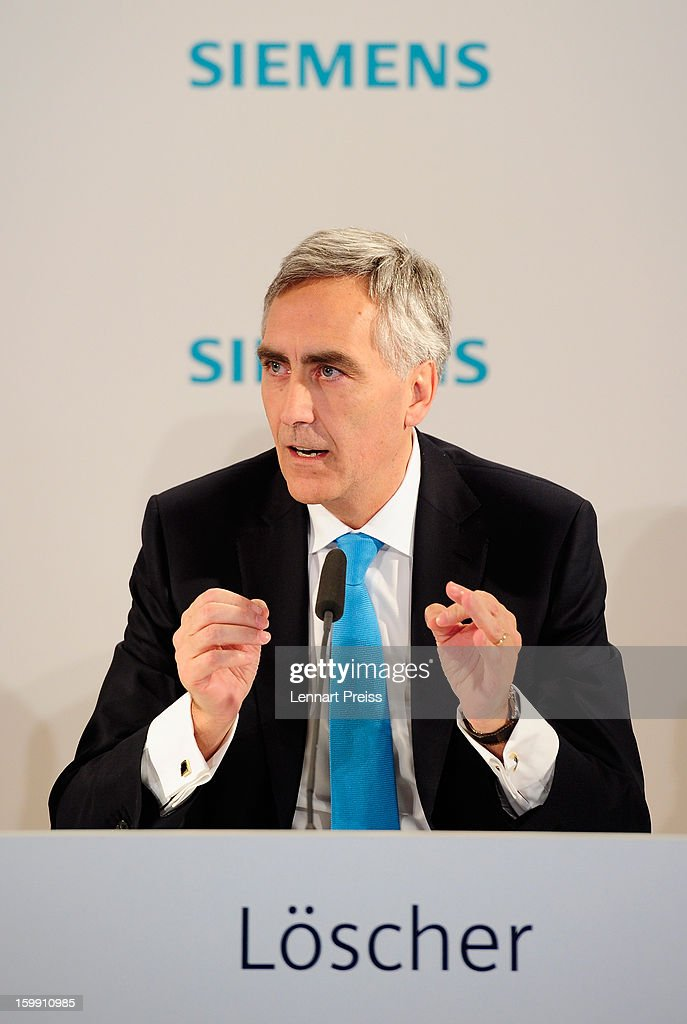 <a gi-track='captionPersonalityLinkClicked' href=/galleries/search?phrase=Peter+Loescher&family=editorial&specificpeople=4296846 ng-click='$event.stopPropagation()'>Peter Loescher</a>, President and Chief Executive Officer of Siemens AG, speaks to the media to announce financial results for the first quarter of 2013 prior to the Siemens annual general shareholders' meeting at the Olympiahalle on January 23, 2013 in Munich, Germany. Siemens announced that although the new orders declined slightly year-over-year, the book-to-bill ratio was again above 1 for the first time in three quarters. Total Sectors profit rose some four percent.