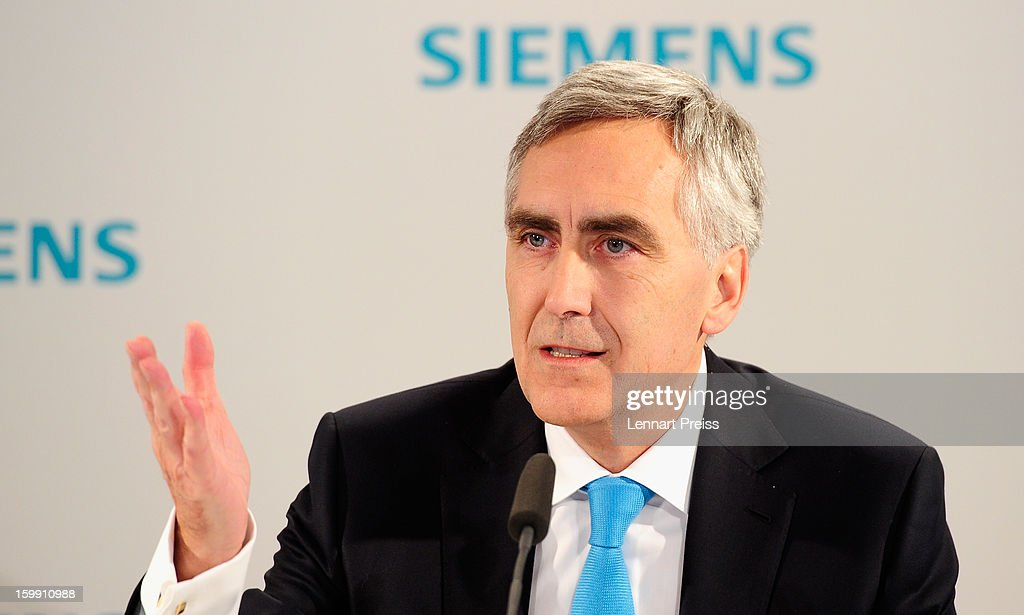 Peter Loescher, President and Chief Executive Officer of Siemens AG, speaks to the media to announce financial results for the first quarter of 2013 prior to the Siemens annual general shareholders' meeting at the Olympiahalle on January 23, 2013 in Munich, Germany. Siemens announced that although the new orders declined slightly year-over-year, the book-to-bill ratio was again above 1 for the first time in three quarters. Total Sectors profit rose some four percent.