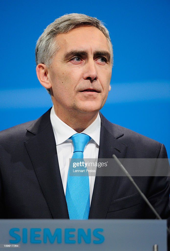 <a gi-track='captionPersonalityLinkClicked' href=/galleries/search?phrase=Peter+Loescher&family=editorial&specificpeople=4296846 ng-click='$event.stopPropagation()'>Peter Loescher</a>, President and Chief Executive Officer of Siemens AG, speaks to the shareholders during the Siemens annual general shareholder's meeting at the Olympiahalle on January 23, 2013 in Munich, Germany. Siemens announced that although the new orders declined slightly year-over-year, the book-to-bill ratio was again above 1 for the first time in three quarters. Total Sectors profit rose some four percent.