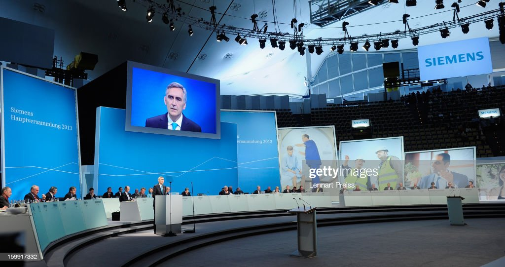 Peter Loescher, President and Chief Executive Officer of Siemens AG, speaks to the shareholders during the Siemens annual general shareholder's meeting at the Olympiahalle on January 23, 2013 in Munich, Germany. Siemens announced that although the new orders declined slightly year-over-year, the book-to-bill ratio was again above 1 for the first time in three quarters. Total Sectors profit rose some four percent.