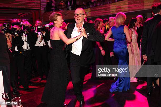 Peter Lohmeyer dancing with Joerdis Triebel during the German Filmball 2015 at Hotel Bayerischer Hof on January 17 2015 in Munich Germany