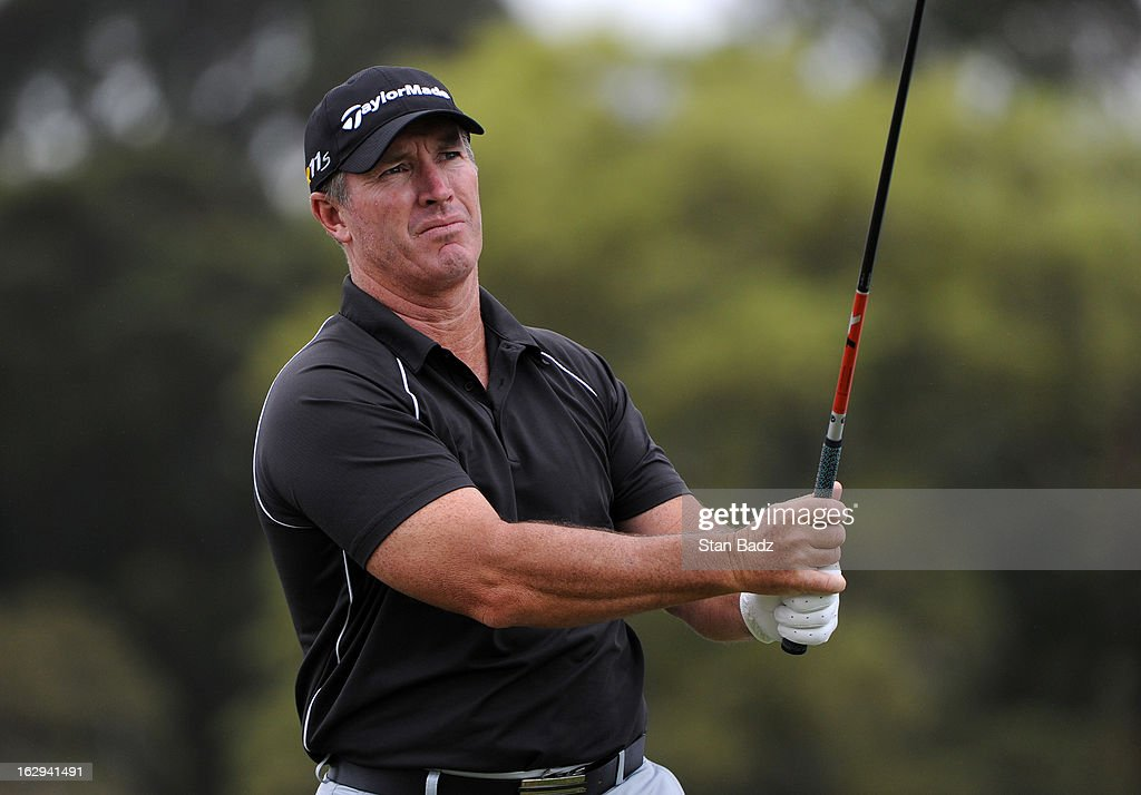 Peter Lonard of Australia watches his drive on the 17th hole during the second round of the Colombia Championship at Country Club de Bogota on March 1, 2013 in Bogota, Colombia.