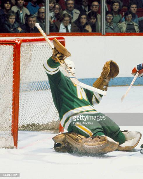 Peter LoPresti of the Minnesota North Stars makes a save during a game against the Montreal Canadiens Circa 1977 at the Montreal Forum in Montreal...
