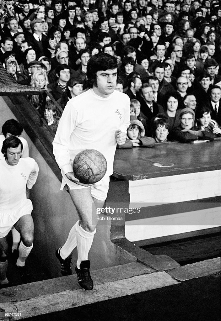 Peter Lorimer of Leeds United prior to a match against Liverpool at Anfield circa 1970