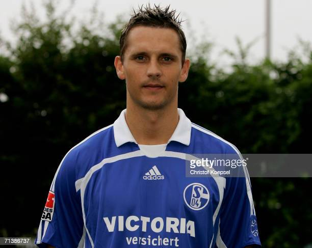 Peter Lovenkrands poses during the Bundesliga 1st Team Presentation of FC Schalke 04 at theTraining Ground on July 7 2006 in Gelsenkirchen Germany