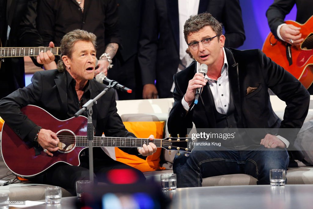 Peter Maffay and Hans Sigl attend the 'Wetten dass' TV Show from Karlsruhe on January 25 2014 in Karlsruhe Germany