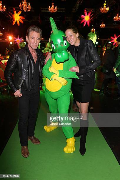 Peter Maffay and his wife Tanja Maffay and dragon Tabaluga during the 'Tabaluga Es lebe die Freundschaft' record release at Das Schloss on October 28...