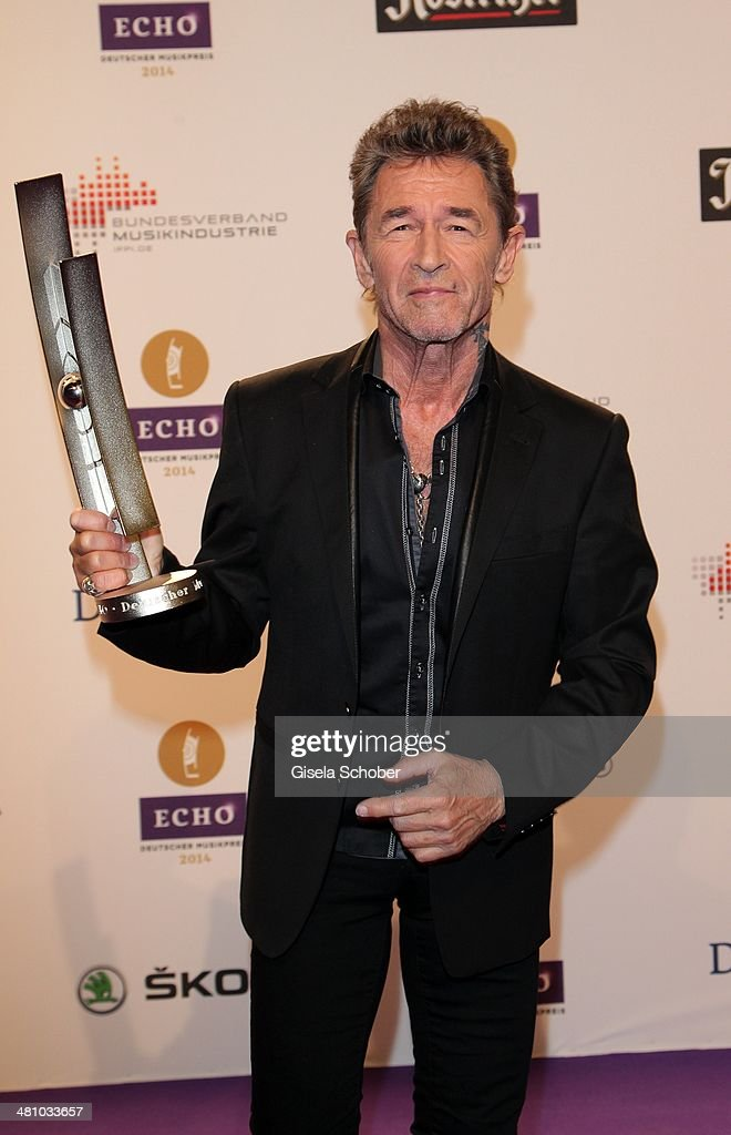 Peter Maffay poses at the Echo award 2014 winners board at Messe Berlin on March 27, 2014 in Berlin, Germany.