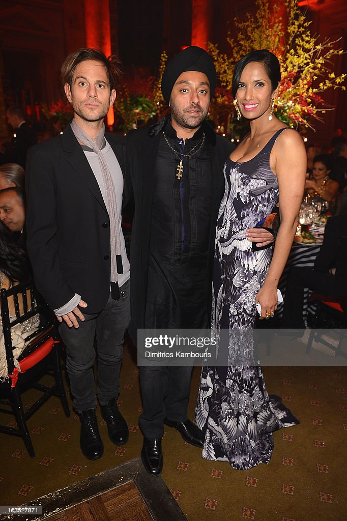 Peter Makebish, Vikram Chatwal and TV Personality Padma Lakshmi attend The Endometriosis Foundation of America's Celebration of The 5th Annual Blossom Ball at Capitale on March 11, 2013 in New York City.