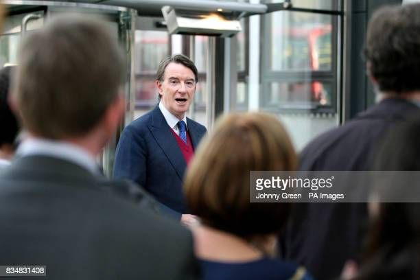 Peter Mandelson greets his staff inside the Department for Business Enterprise and Regulatory Reform in Westminster central London as he returns to...