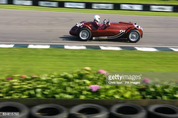 Peter Mann in his Frazer Nash Le Mans Replica speeds around the track during practice for the Freddie March Memorial Trophy on the first day of the...