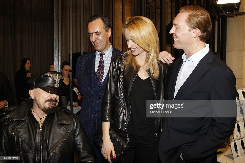 Peter Marino, Jaime de Marichalar, Delphine Arnault and Creative Director of Loewe Stuart Vevers attend the Loewe Ready-To-Wear Fall/Winter 2012 show as part of Paris Fashion Week at Universite Paris Descartes on March 3, 2012 in Paris, France.