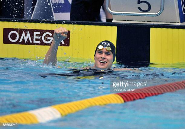 Peter Marshall of the US reacts after the men's 50 m backstroke competition during the Short Track World Cup Swimming in Stockholm on November 12...