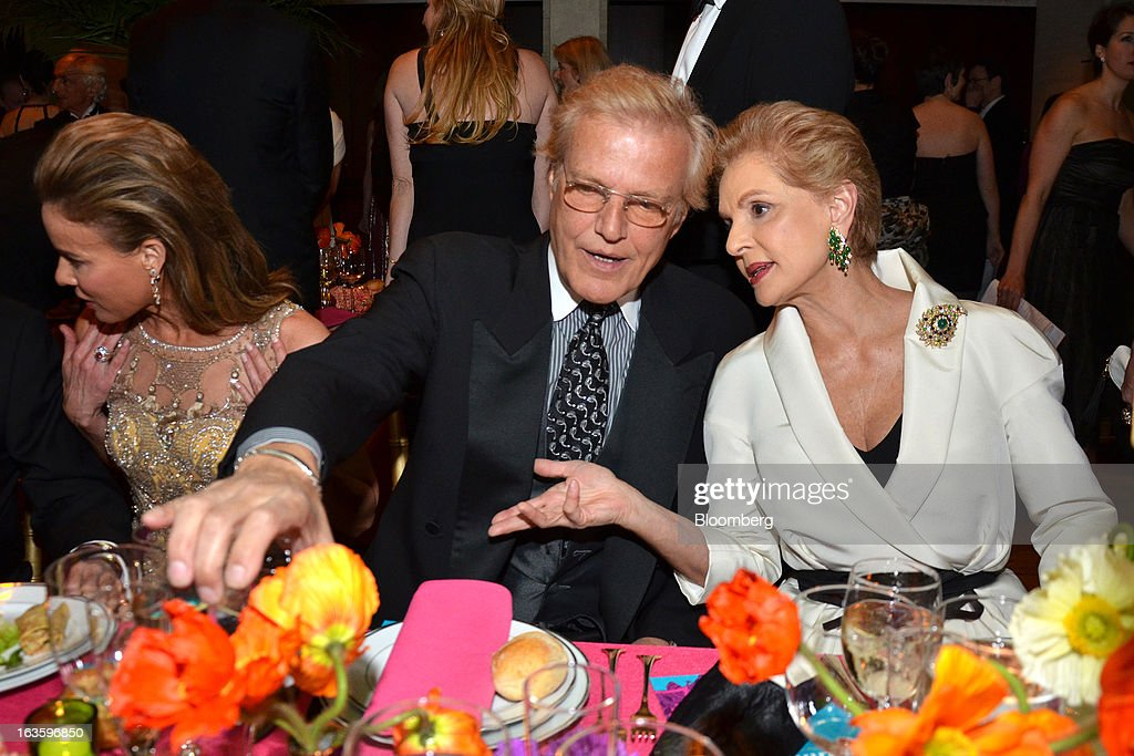 Peter Martins, chairman of faculty at the School of American Ballet and ballet master in chief of New York City Ballet, center, and Carolina Herrera, designer and founder of Carolina Herrera, Ltd., attend a dinner during the School of American Ballet Winter Ball at the David H. Koch Theater in New York, U.S., on Monday, March 11, 2013. The School of American Ballet Winter Ball took place at the Lincoln Center. Photographer: Amanda Gordon/Bloomberg via Getty Images