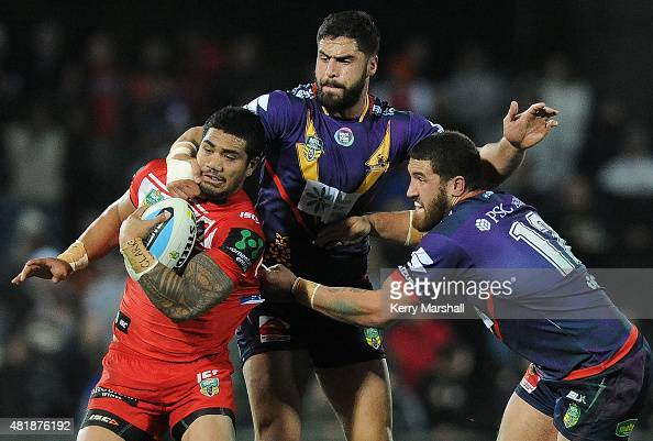 Peter Mata'utia of the Dragons is tackled during the round 20 NRL match between the Melbourne Storm and the St George Illawarra Dragons at McLean...