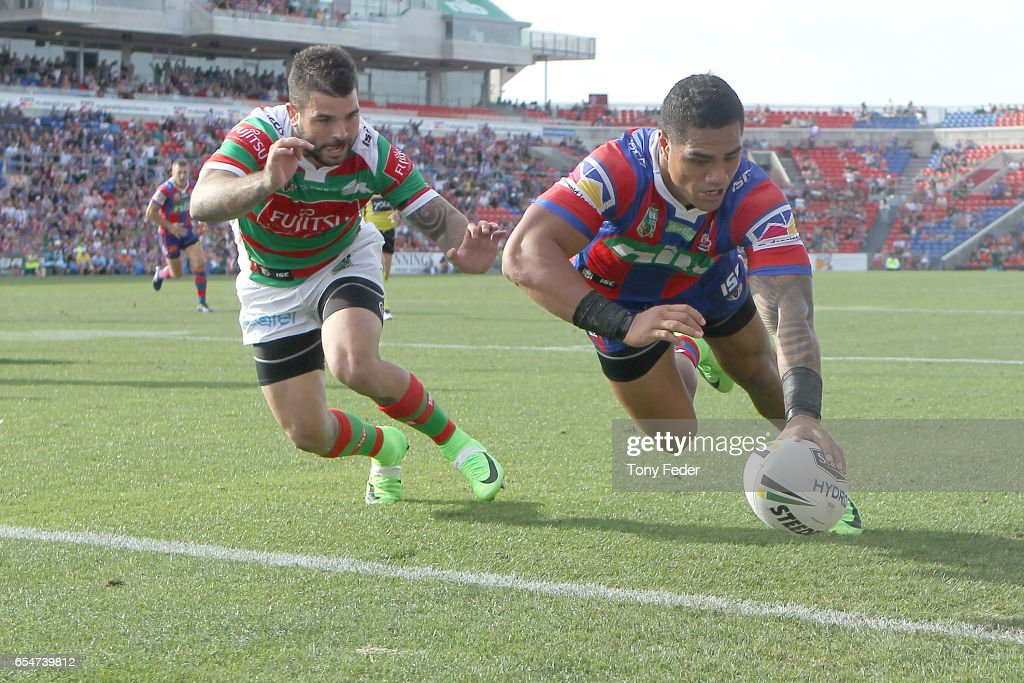 Peter Mata'Utia of the Knights scores a try during the round three NRL match between the Newcastle Knights and the South Sydney Rabbitohs at McDonald Jones Stadium on March 18, 2017 in Newcastle, Australia.