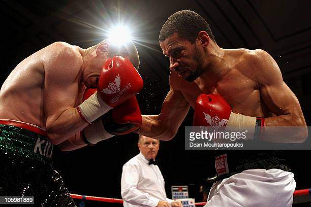 Peter McDonagh of Bermondsey is hit by Curtis Woodhouse of Driffield in the LightWelterweight bout at York Hall on October 23 2010 in London England