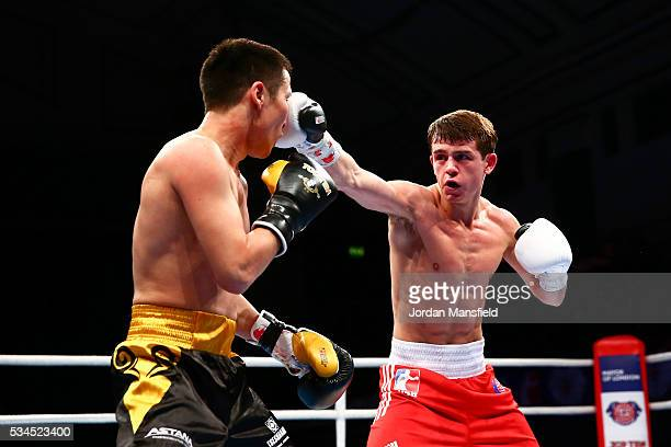 Peter McGrail of British Lionhearts in action against Nursultan Kochshegulov of Astana Arlans in the semifinal of the World Series of Boxing between...