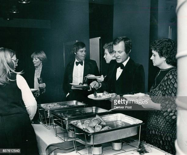 Peter McLaughlin Maggie Carson Dick Freese and Pat Milstein in buffet line The buffet was for the Denver Symphony Association board of trustees who...
