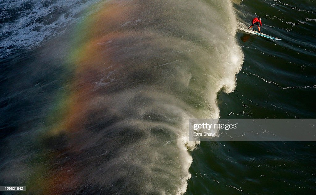 Peter Mel competes during the first heat of the Mavericks Invitational surf competition on January 20, 2013 in Half Moon Bay, California.