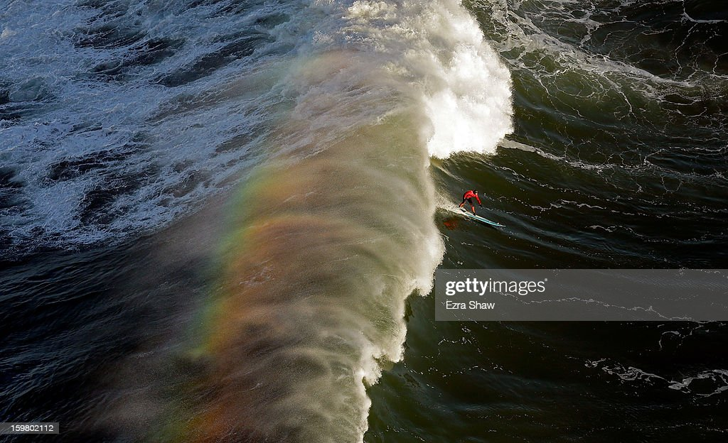 Peter Mel competes during the first heat of the Maverick's Invitational surf competition on January 20, 2013 in Half Moon Bay, California. Mel went on to win the event.