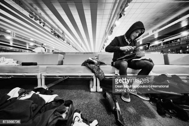 Peter Michael of New Zealand gets ready to compete in the mens Mass Start on day two during the ISU World Cup Speed Skating held at Thialf on...