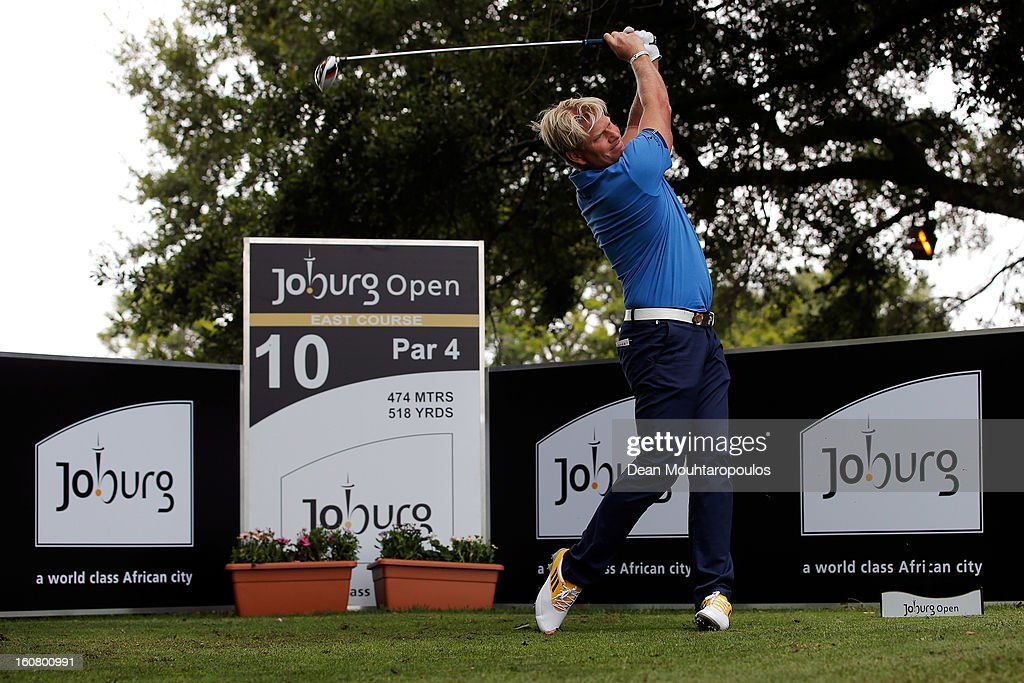 Peter Mikael Hedblom of Sweden hits his tee shot on the 10th East Course hole during the Joburg Open ProAm at Royal Johannesburg and Kensington Golf Club on February 6, 2013 in Johannesburg, South Africa.