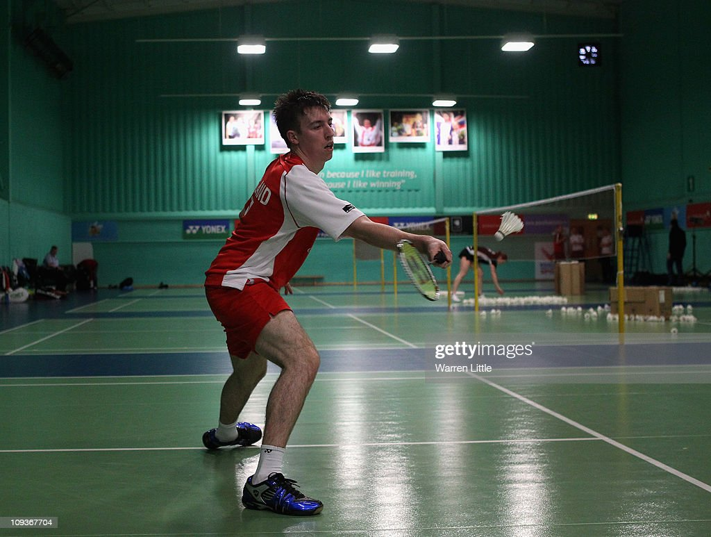 Peter Mills of the England Badminton squad practices at the National Badminton Centre on February 23, 2011 in Milton Keynes, England.
