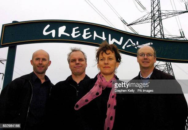 Peter Mitchell Graeme Sutherland and Elizabeth Adams and Jerome Frost pose in front of the entrance to Greenway in Stratford east London