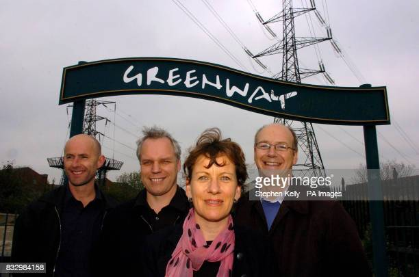 Peter Mitchell Graeme Sutherland and Elizabeth Adams the directors of Adams and Sutherland the winning design agency with Jerome Frost pose in front...