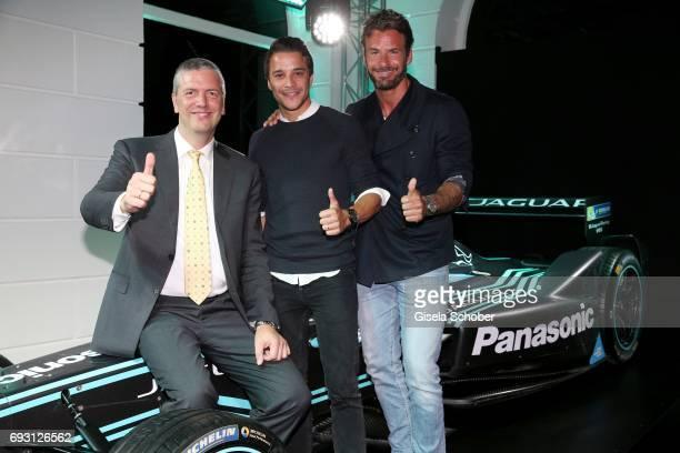 Peter Modelhart Director Jaguar Land Rover Germany Kostja Ullmann and Stephan Luca during the Jaguar Land Rover presentation of the 'IPACE' car...