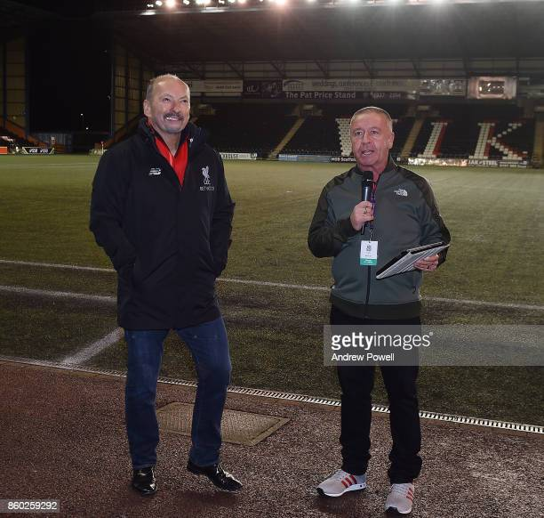 Peter Moore CEO of Liverpool gets interviewed during halftime of the Women's Super League match between Liverpool Ladies and Sheffield FC Ladies at...