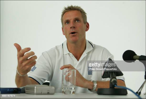 Peter Moores the new ECB Academy Performance Director talks to the media during a Press Conference at the ECB National Cricket Academy in...