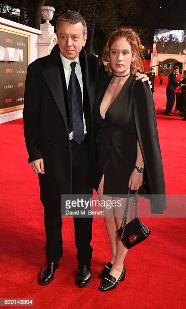 Peter Morgan and guest attend the World Premiere of new Netflix Original series 'The Crown' at Odeon Leicester Square on November 1 2016 in London...