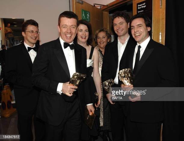 Peter Morgan Andrea Claderwood Lisa Bryer Charles Steel Kevin MacDonald and Jeremy Brock winners of the Best Adapted Screenplay award for 'The Last...