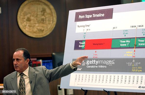 Peter Morreale defense attorney for Keith Spann reviews a video timeline chart for the jury during his open statements Deputy District attorney Dan...
