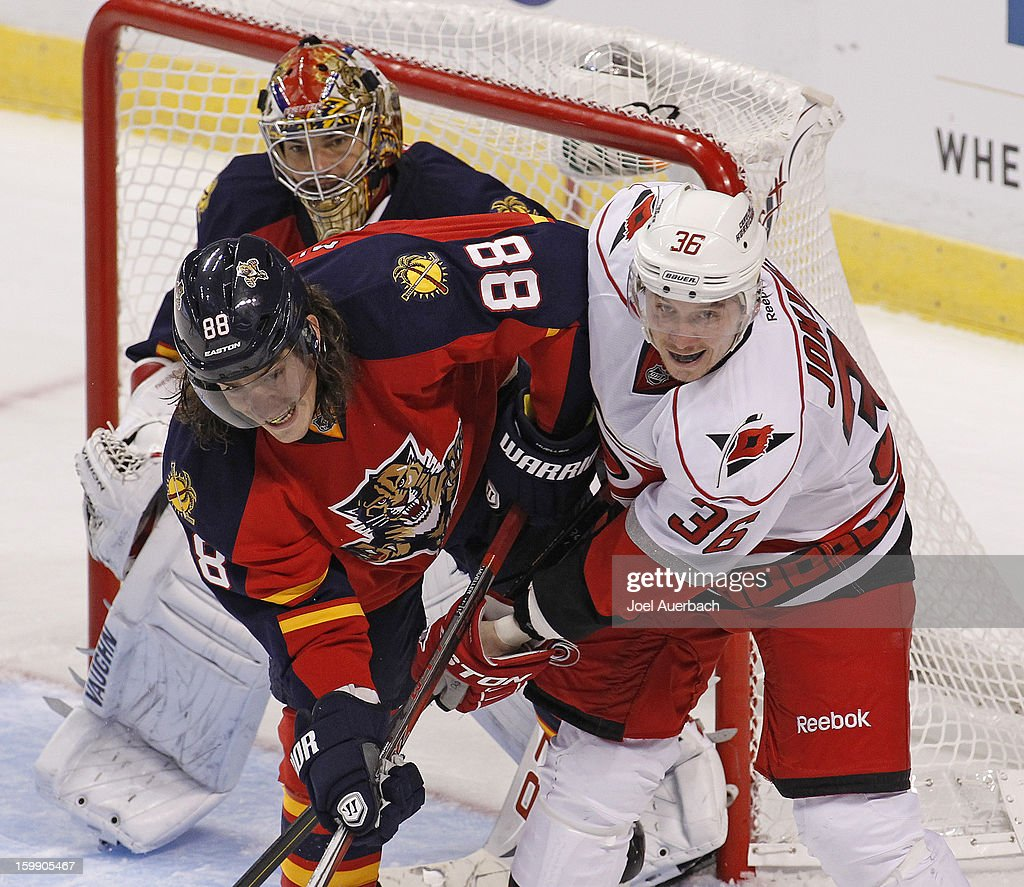 Peter Mueller #88 of the Florida Panthers and Jussi Jokinen #36 of the Carolina Hurricanes fight for position in front of goaltender Jose Theodore #60 during the season opener at the BB&T Center on January 19, 2013 in Sunrise, Florida. The Panthers defeated the Hurricanes 5-1.
