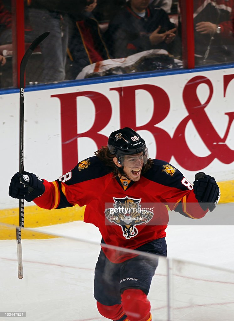 Peter Mueller #88 of the Florida Panthers celebrates a goal against the Winnipeg Jets at the BB&T Center on January 31, 2013 in Sunrise, Florida.
