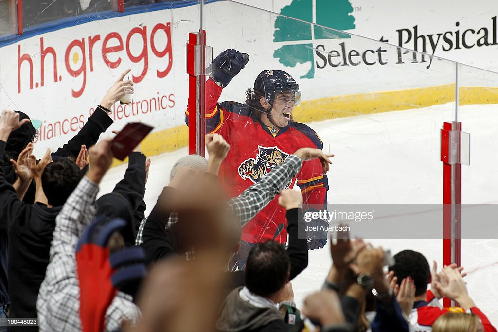 Peter Mueller #88 of the Florida Panthers celebrates after scoring the third goal of the game against the Winnipeg Jets at the BB&T Center on January 31, 2013 in Sunrise, Florida. The Panthers defeated the Jets 6-3.