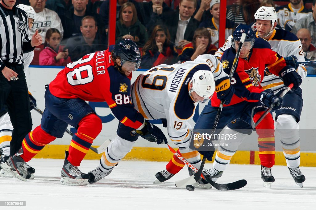 Peter Mueller #88 of the Florida Panthers faces off against Cody Hodgson #19 of the Buffalo Sabres at the BB&T Center on February 28, 2013 in Sunrise, Florida.