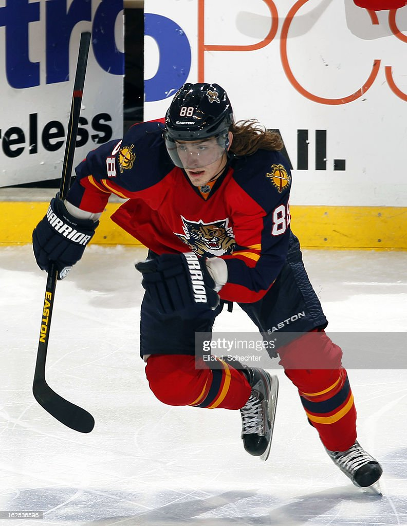 Peter Mueller #88 of the Florida Panthers skates off the bench for a shift against the Boston Bruins at the BB&T Center on February 24, 2013 in Sunrise, Florida.