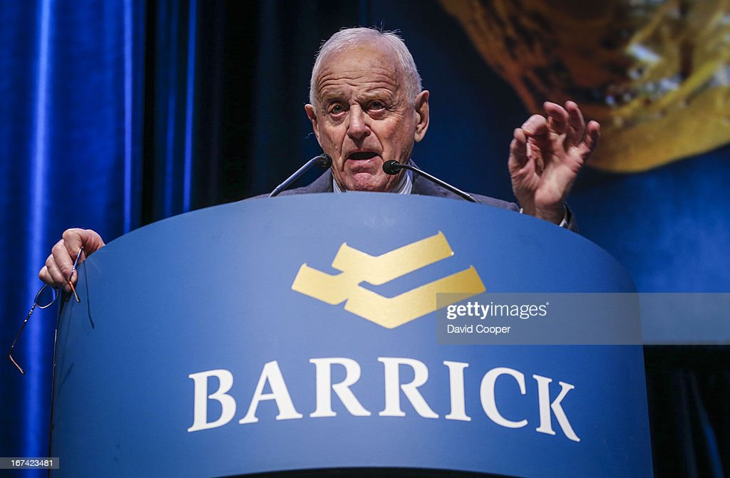 Peter Munk, Founder and Chairman of Barrick Gold speaking at their Annual General Meeting being held at the Metro Toronto Convention Centre.