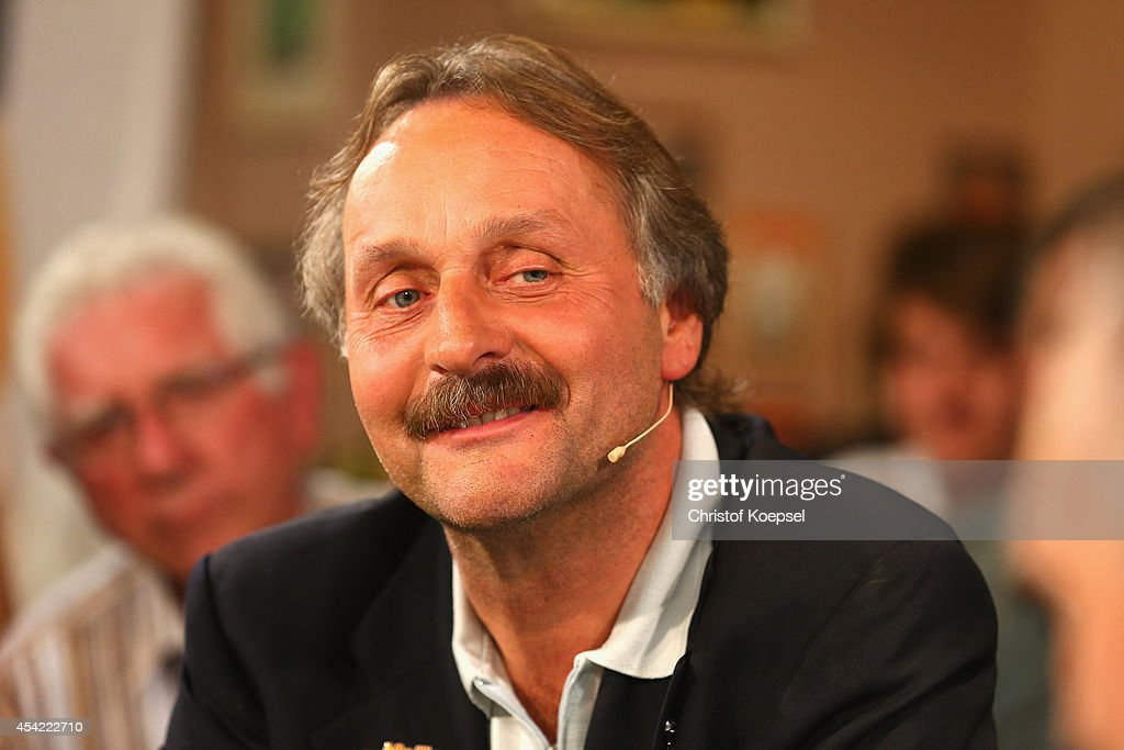 Peter Neururer expert of Sport 1 Bitburger Fantalk looks on at Sport 1 Fan Talk at 11 Freunde Bar on August 26 2014 in Essen Germany