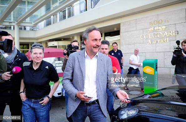 Peter Neururer leaves the Courtyard Hotel following negotiations with President of Hannover 96 Martin Kind and Sporting director of Hannover 96 Dirk...