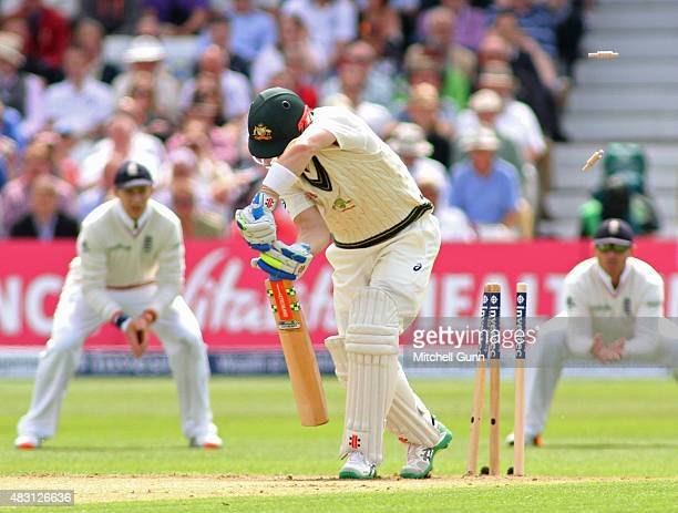 Peter Nevill of Australia is bowled out by Steven Finn of England during day one of the 4th Investec Ashes Test match between England and Australia...