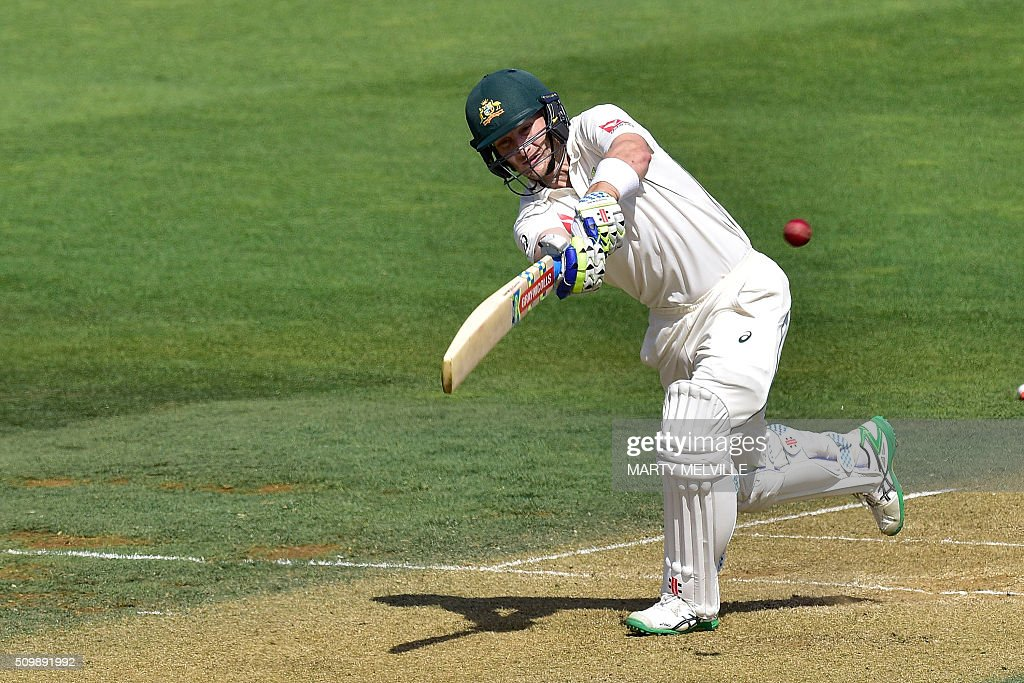 Adam Voges of Australia plays a shot during day two of the first cricket Test match between New Zealand and Australia at the Basin Reserve in Wellington on February 13, 2016. AFP PHOTO / MARTY MELVILLE / AFP / Marty Melville