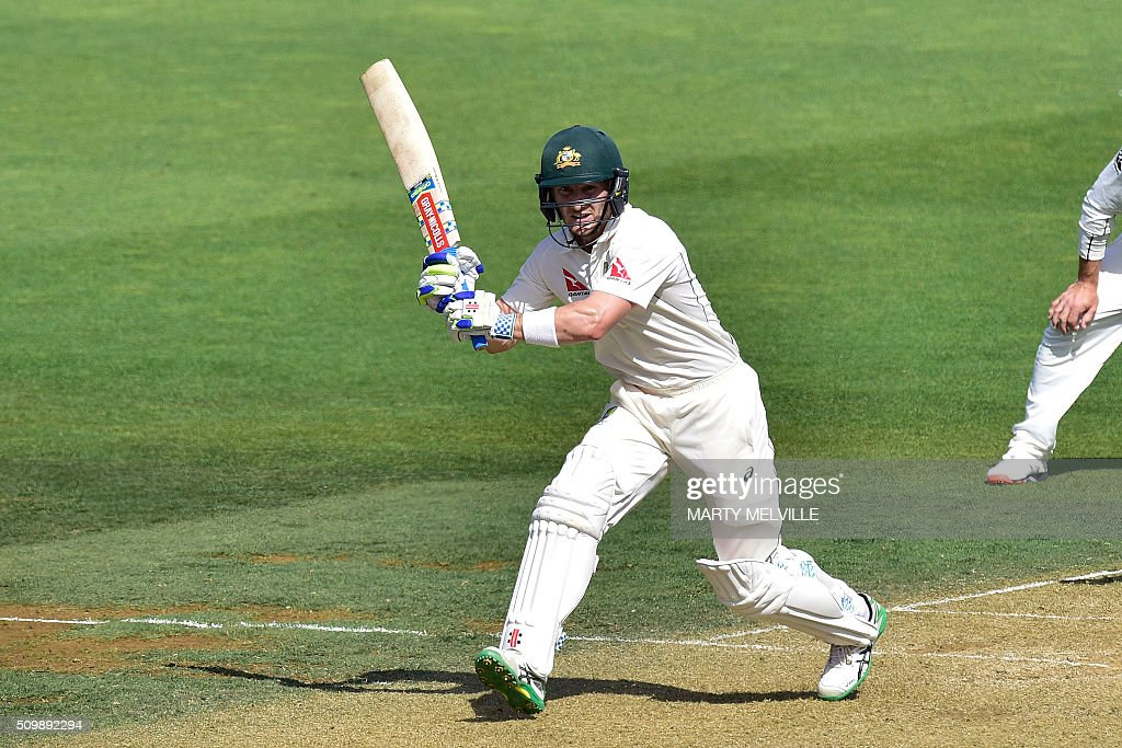 Peter Nevill of Australia plays a shot during day two of the first cricket Test match between New Zealand and Australia at the Basin Reserve in Wellington on February 13, 2016. AFP PHOTO / MARTY MELVILLE / AFP / Marty Melville
